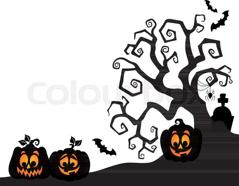 Halloween tree silhouette theme 2 - eps10 vector illustration ...