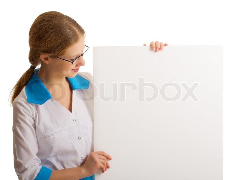 807e8e271e2 A beautiful young nurse holding a blank ... | Stock image | Colourbox
