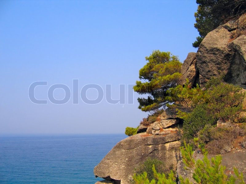 Cliffs with pine trees above the sea coast of the greek islands stock photo colourbox - Impressive house with tranquil environment to get total relaxation ...