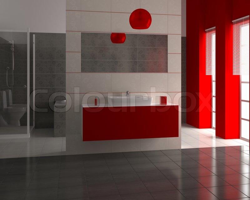3d render der modernen bad mit wei en und schwarzen fliesen an der wand stockfoto colourbox. Black Bedroom Furniture Sets. Home Design Ideas