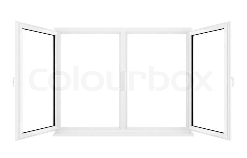 3d er ffnet kunststoff fenster auf wei em hintergrund stockfoto colourbox. Black Bedroom Furniture Sets. Home Design Ideas