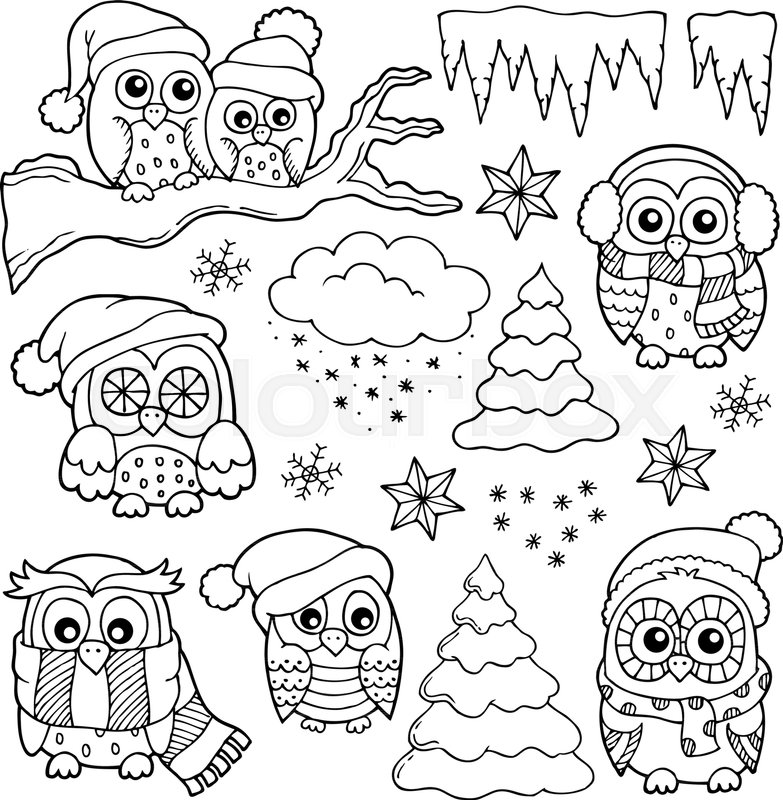 Winter owl drawings theme 1 eps10 Stock Vector Colourbox