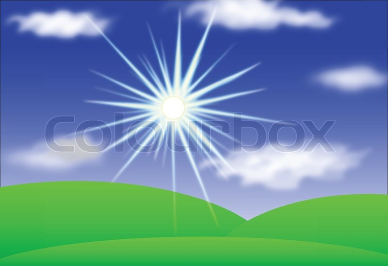 Landscape with Sun, Hills, Blue Sky And Clouds, Vector eps10, vector