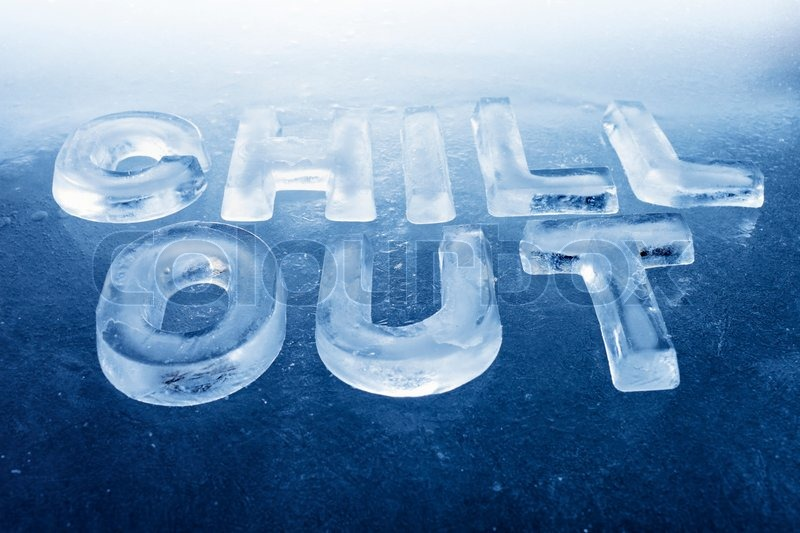 Words Chill Out made of real ice letters on ice background stock zEBPbnzA