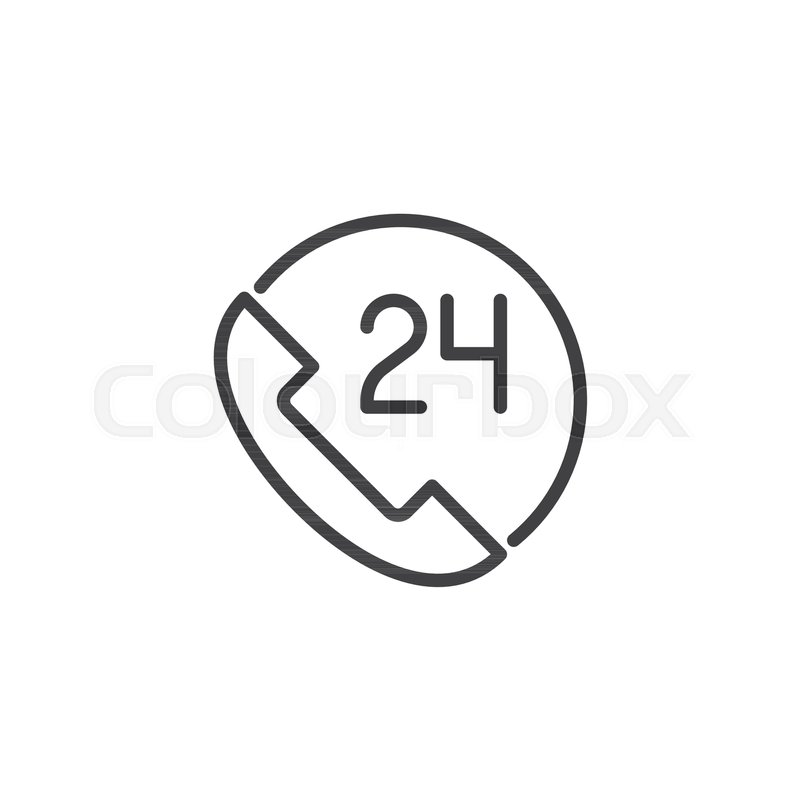 24 Call Center Customer Service Outline Icon Linear Style Sign For