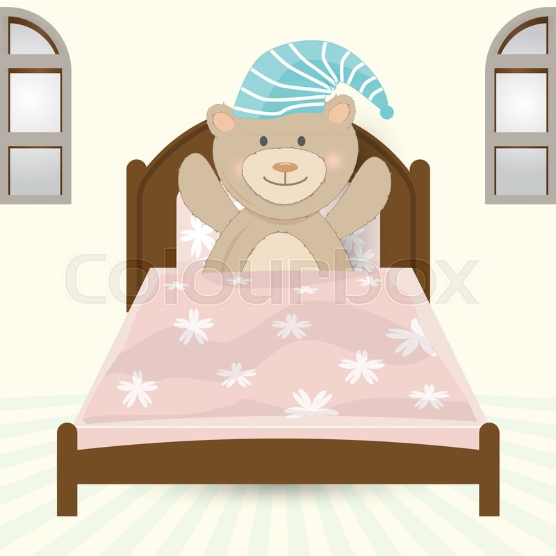 Teddy Bear In Bed Sleeping Or Wake Up Concept Illustration