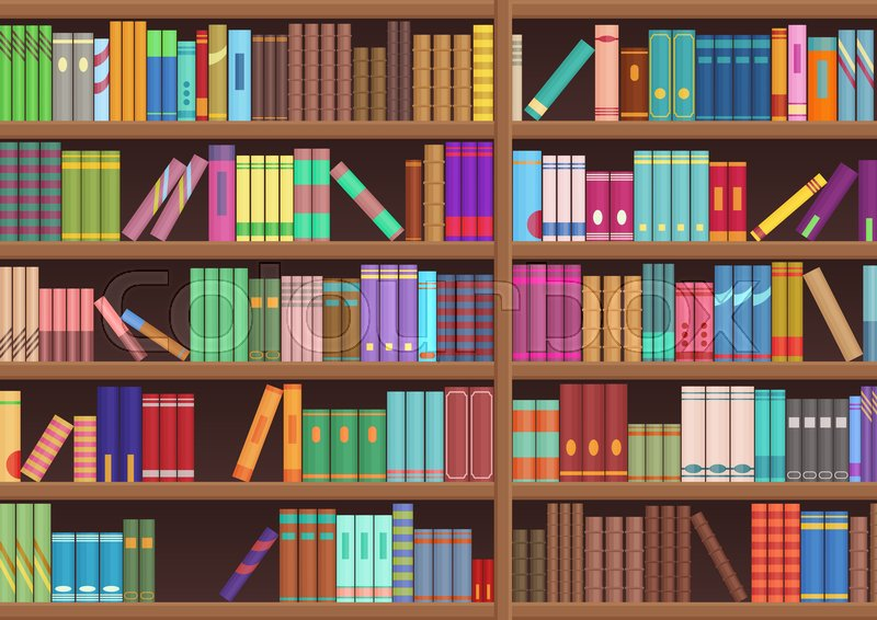 Library Book Shelf Literature Books Cartoon Vector Background