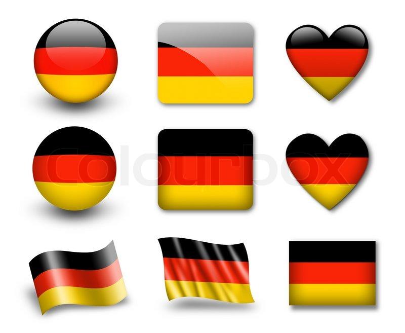 die deutsche flagge reihe von icons und fahnen gl nzend und matt auf wei em hintergrund. Black Bedroom Furniture Sets. Home Design Ideas