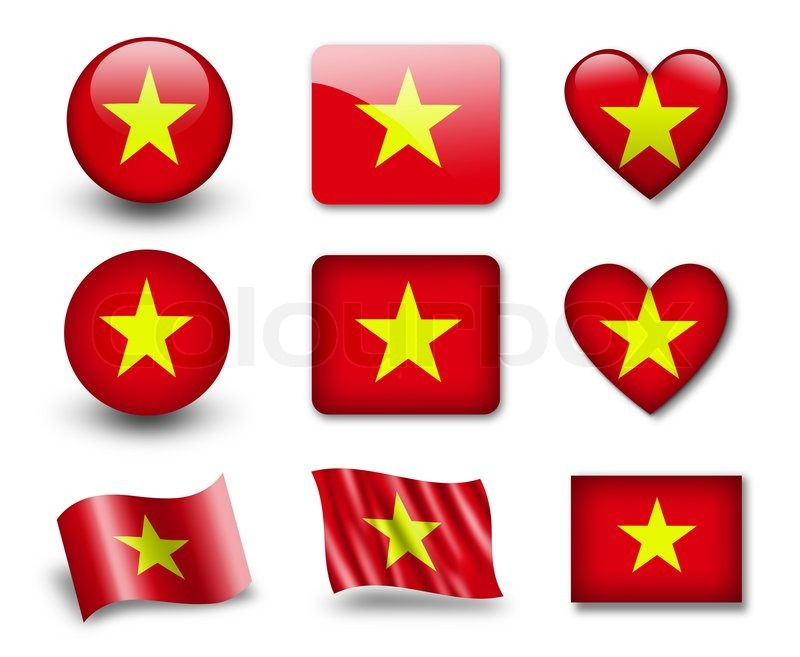 The Vietnamese flag - set of icons and     | Stock image | Colourbox