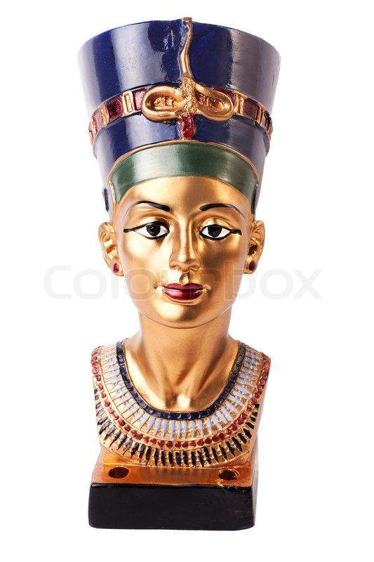 Stock image of 'Famous buste from Nefertiti in Egypt on white background'