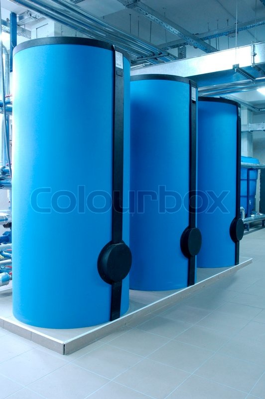 Modern Boilers In Special Room For Depositing Heating