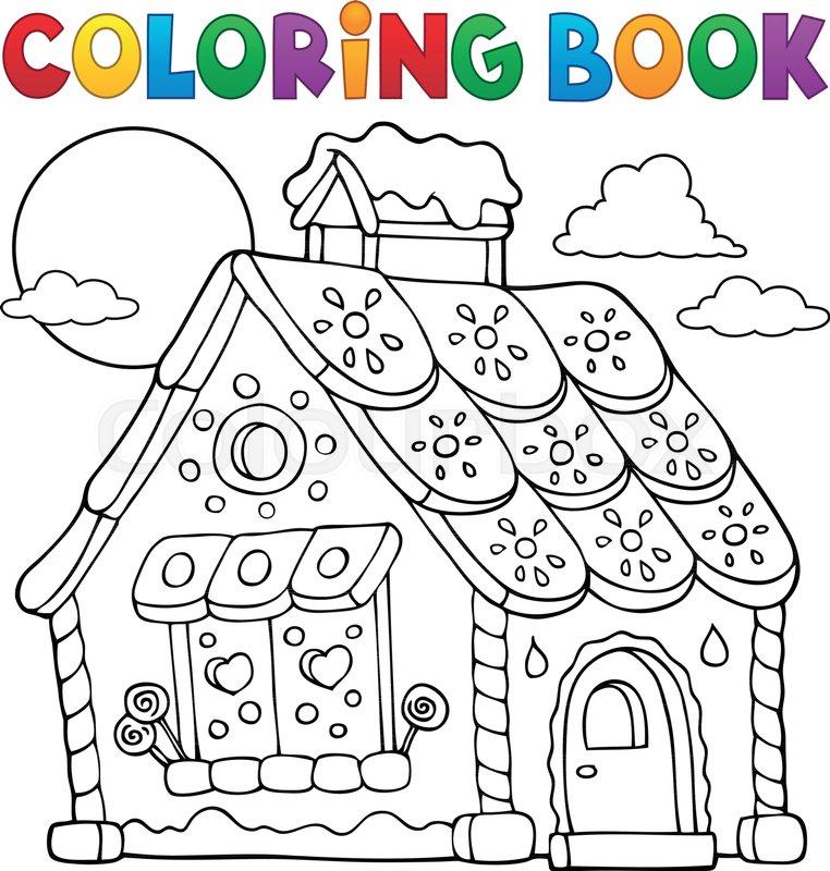 - Coloring Book Gingerbread House Theme Stock Vector Colourbox