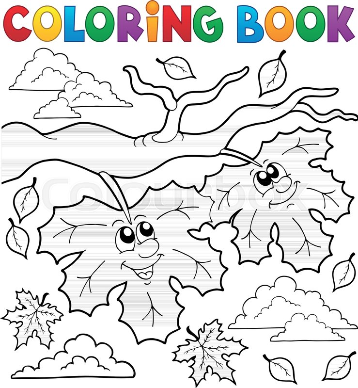 Coloring book happy autumn leaves - eps10 vector illustration ...