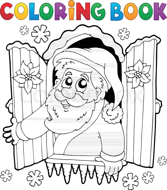 Coloring book Santa Claus thematics 5 - eps10 vector illustration ...