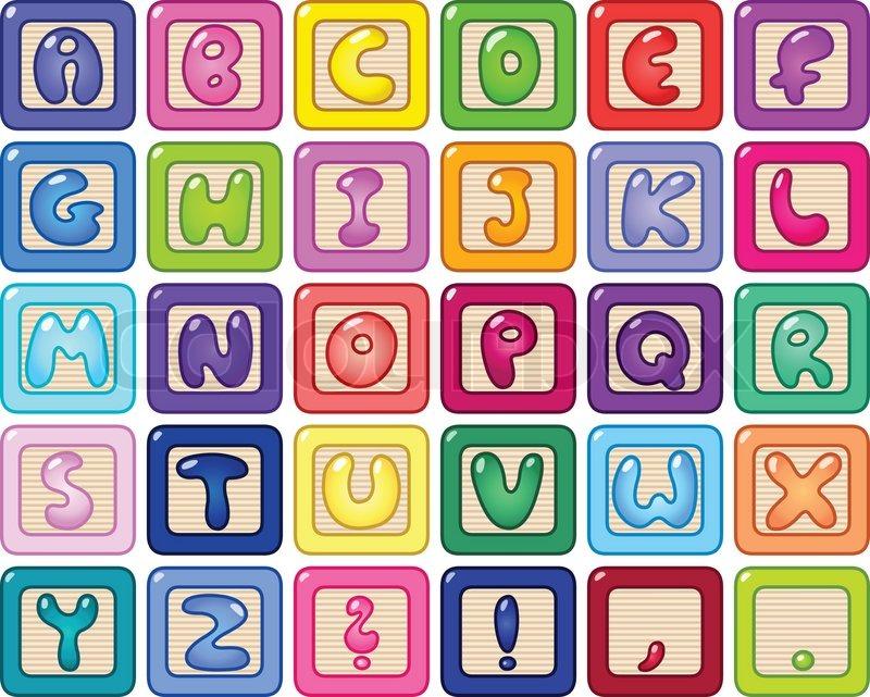 Colorful lower case alphabet blocks | Stock Vector | Colourbox