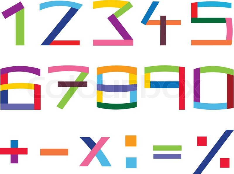 Colorful Number And Math Symbol Set Stock Vector Colourbox