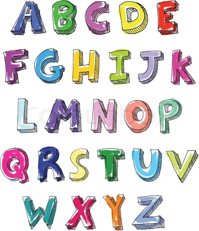 Hand gezeichnet bunten Vektor ABC Buchstaben   Vektorgrafik   Colourbox