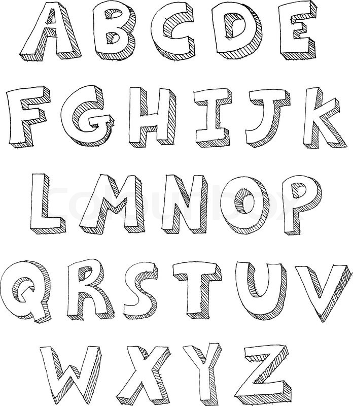 hand drawn vector abc letters vector