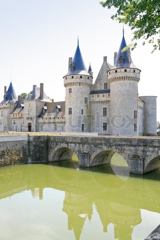 towers of medieval chateau sully sur loire france stock photo colourbox. Black Bedroom Furniture Sets. Home Design Ideas