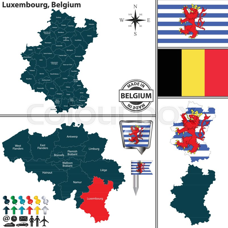 Vector map of Luxembourg region and ... | Stock vector ...