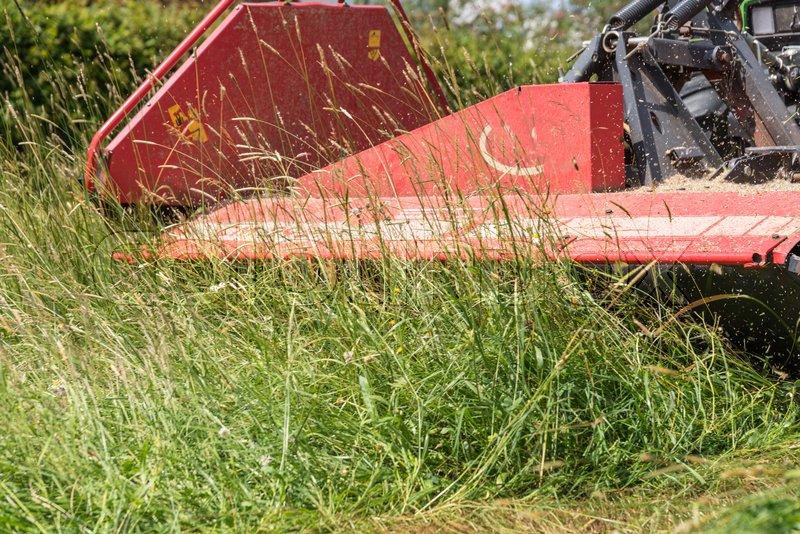 Fabelhaft Gras mit Traktor und Mähwerk mähen - | Stock Bild | Colourbox #OX_49
