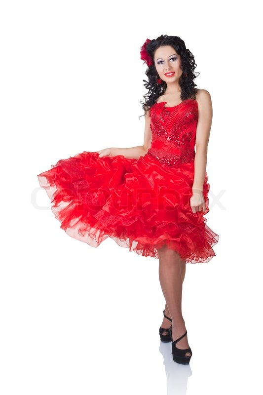 Smuk spansk kvinde i en rød kjole | Stock foto | Colourbox