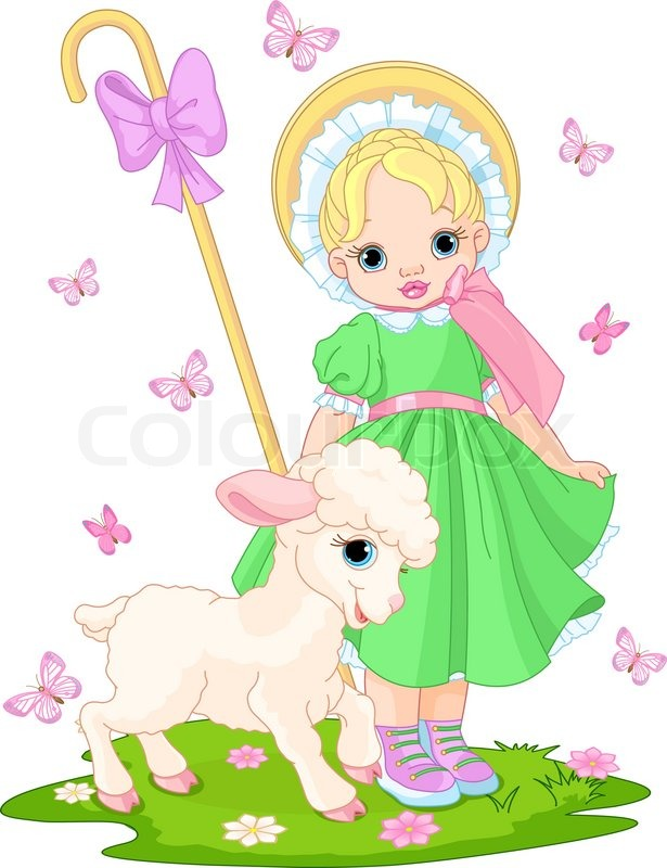 Little Shepherdess With Newborn Lamb In