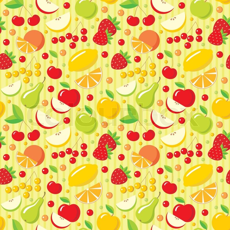 Seamless fruits pattern | Stock Vector | Colourbox