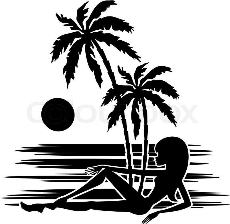 Tropics A Palm Trees And Woman Silhouette On A White