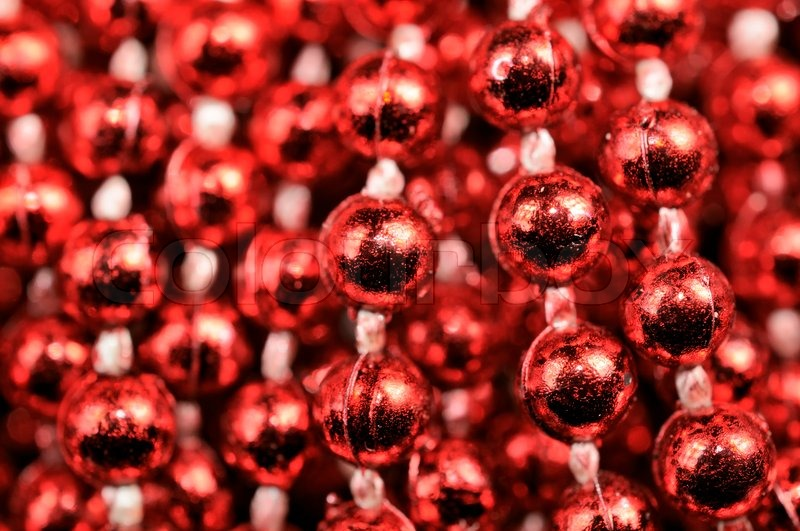 red christmas bead garland stock photo colourbox - Christmas Beaded Garland Decorations