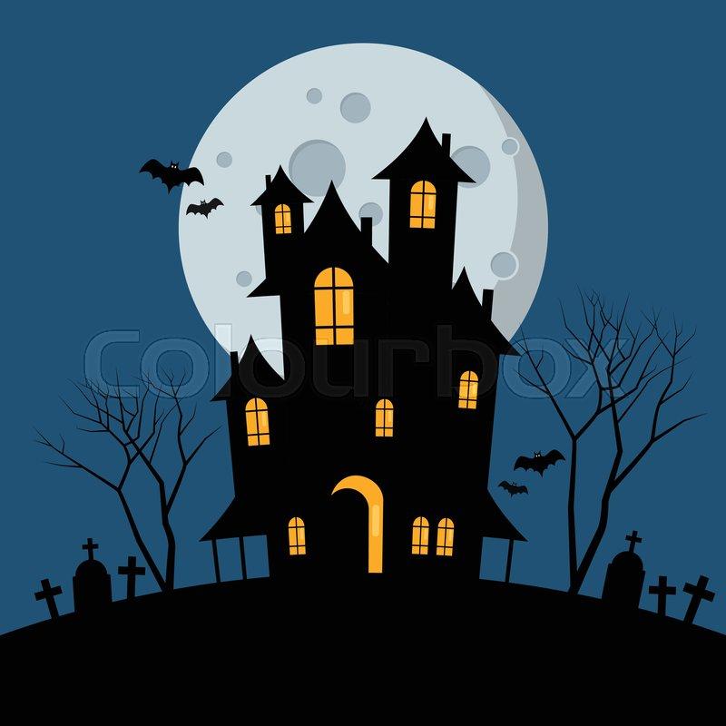 Halloween haunted house vector stock vector colourbox - Cartoon haunted house pics ...