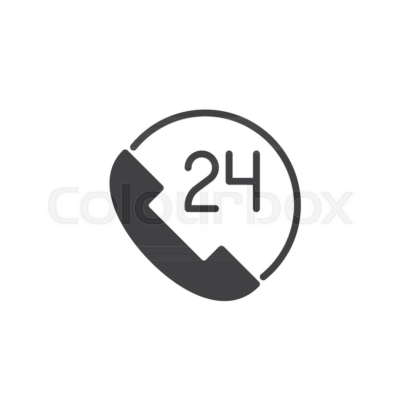 24 Call Center Customer Service Vector Icon Filled Flat Sign For
