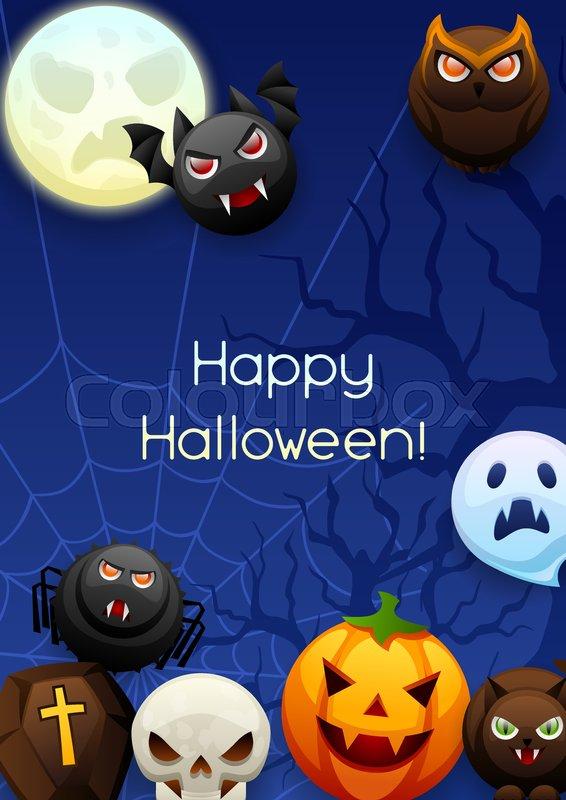 Happy halloween greeting card celebration party background with happy halloween greeting card celebration party background with angry stylized characters vector m4hsunfo