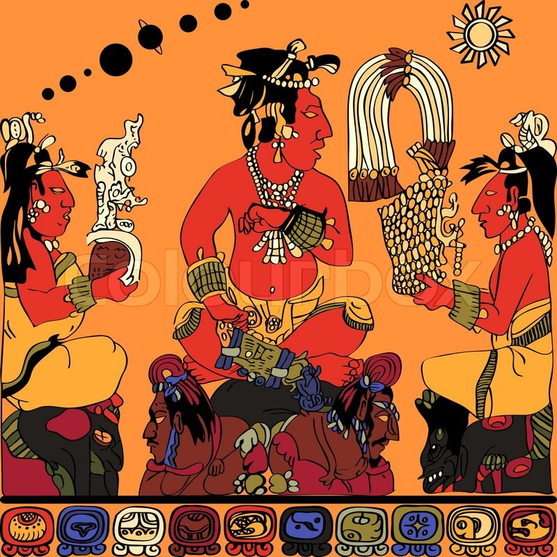 Drawing from the panel of the Gods at Palenque color sketch of
