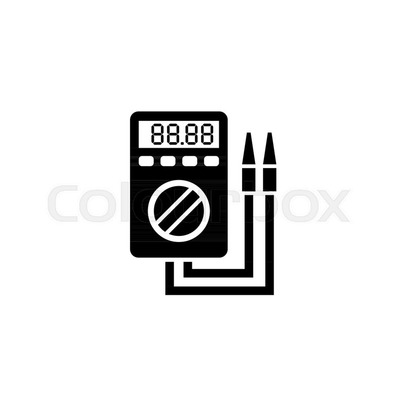 Digital Multimeter Electric Voltmeter Flat Vector Icon