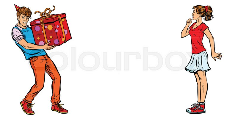 Stock Vector Of Young Man Gives The Girl A Birthday Present Pop Art Retro