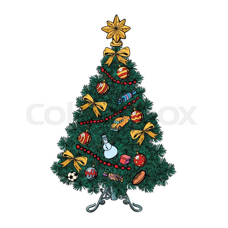 Vector Vintage Pop Art Beach Holiday Illustration Stock: Christmas Tree With Decorations. ...