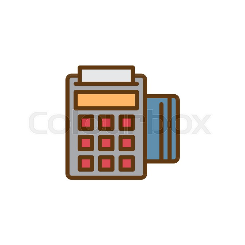 POS terminal filled outline icon, line     | Stock vector | Colourbox