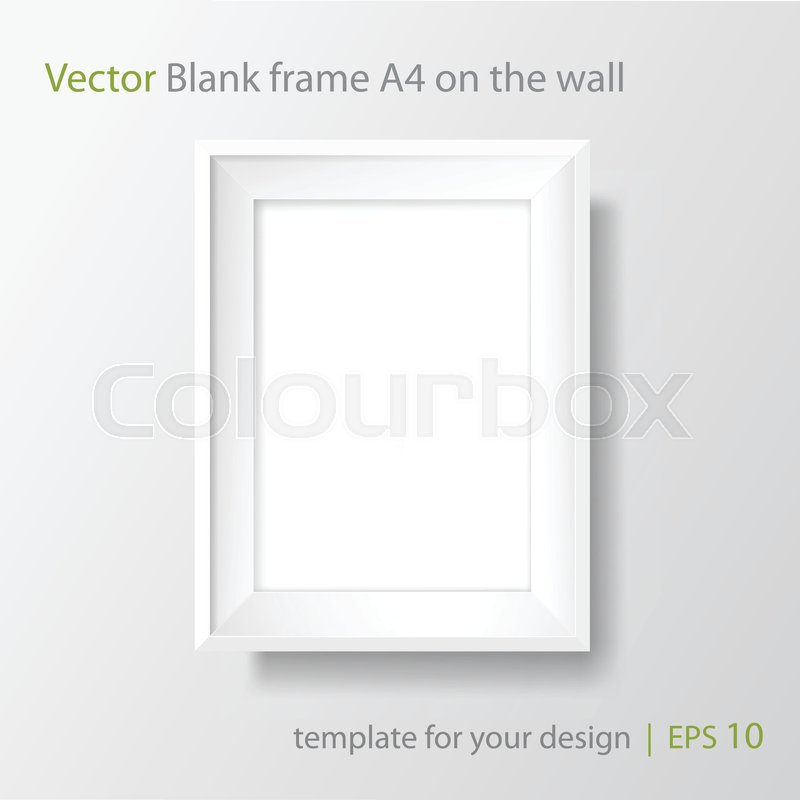 Blank Picture Frame Template Realistic White Frame With Shadow On