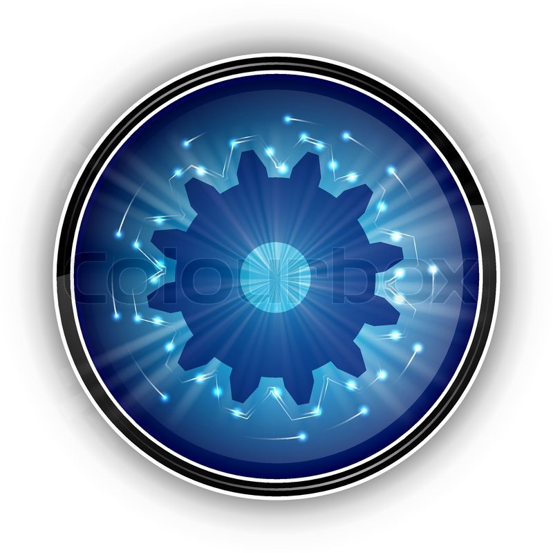 tech blue symbol on the white stock vector colourbox