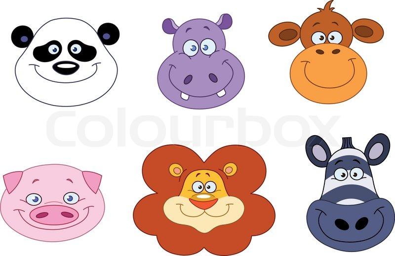 cartoon animal head collection stock vector colourbox Baby Lion Clip Art Koala Baby Clip Art