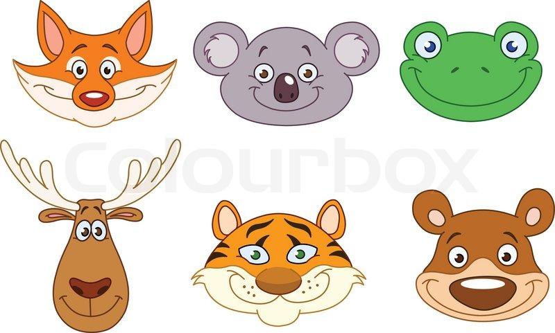 cartoon animal head collection stock vector colourbox