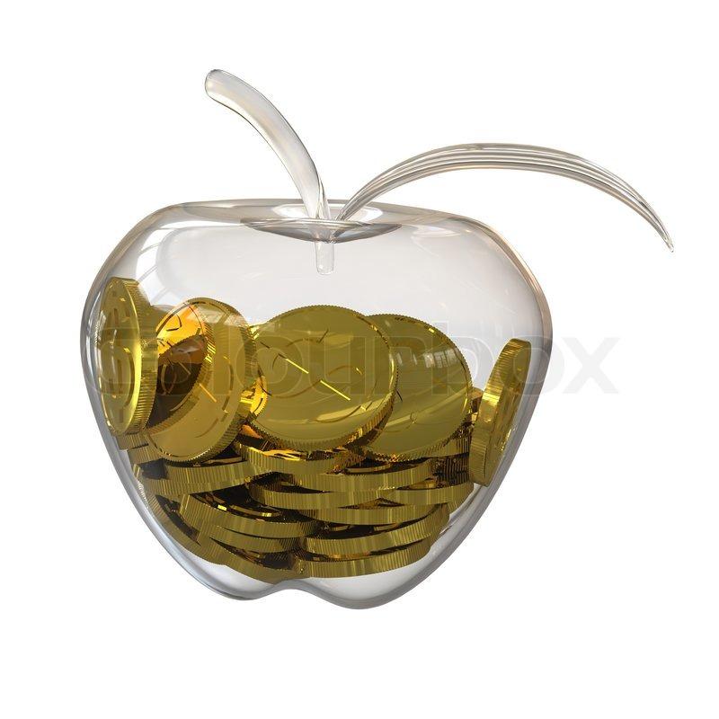 Gold Dollar Münzen In Einem Glas Apfel Stockfoto Colourbox