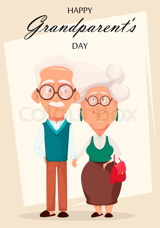 Grandparents day greeting card grandmother and grandfather together grandparents day greeting card grandmother and grandfather together silver haired grandma and grandpa holding hands of each other cartoon characters m4hsunfo