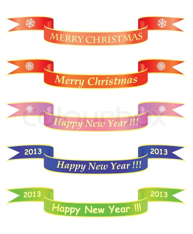 merry christmas and happy new year banners stock vector colourbox