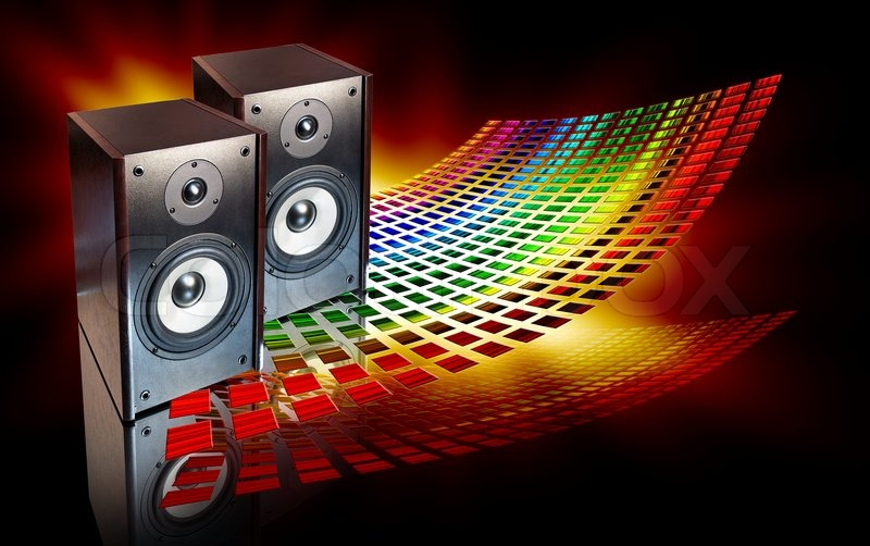 Two Audio Speakers On Abstract Colored Background Stock