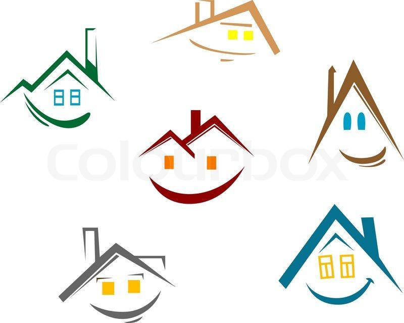 set des hauses symbole f r immobilien design vektor illustration vektorgrafik colourbox. Black Bedroom Furniture Sets. Home Design Ideas