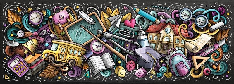 School doodles chalkboard banner design. Day of knowledge hand drawn ...