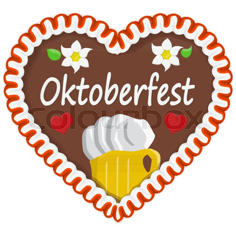 Illustrated Gingerbread Heart With Text In German For Oktoberfest