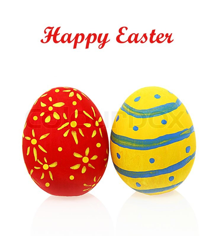 Colorful Two Easter Eggs With Reflection Isolated On White Background